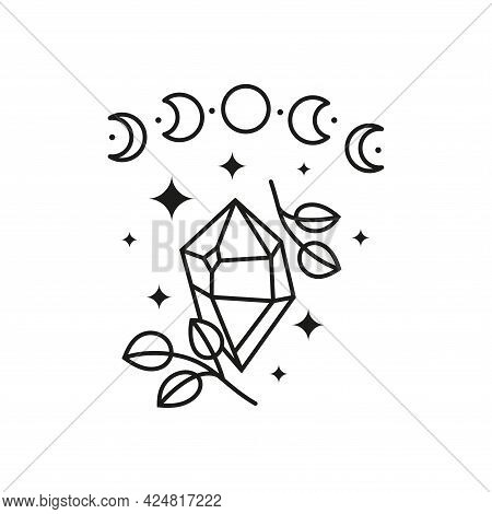 Celestial Crescent With Leafy Branches, Moon Phases And Stars.
