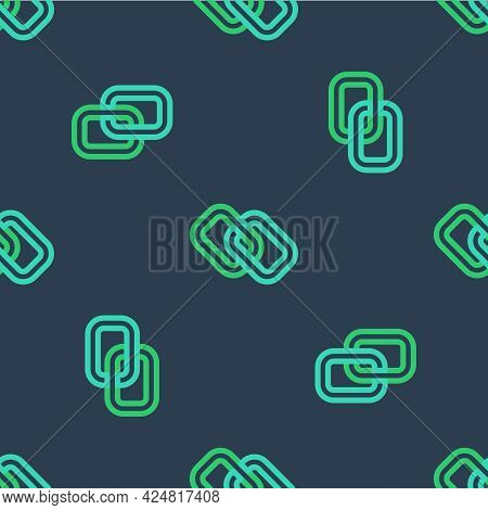 Line Chain Link Icon Isolated Seamless Pattern On Blue Background. Link Single. Hyperlink Chain Symb