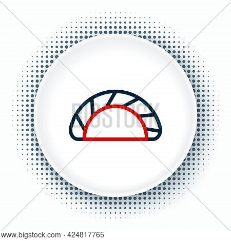 Line Dumpling Icon Isolated On White Background. Traditional Chinese Dish. Colorful Outline Concept.