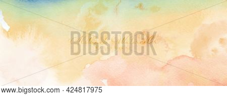 Abstract Watercolor Hand-painted For Background. Orange Yellow Watercolor Stains Vector Texture Is I
