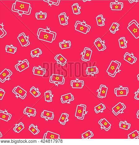 Line Ushanka Icon Isolated Seamless Pattern On Red Background. Russian Fur Winter Hat Ushanka With S