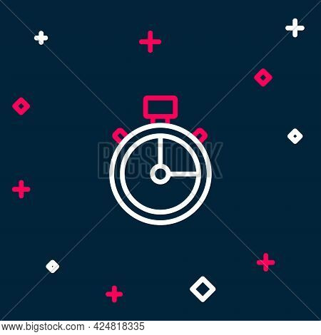 Line Stopwatch Icon Isolated On Blue Background. Time Timer Sign. Chronometer Sign. Colorful Outline