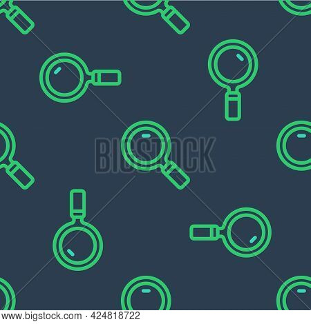 Line Magnifying Glass Icon Isolated Seamless Pattern On Blue Background. Search, Focus, Zoom, Busine