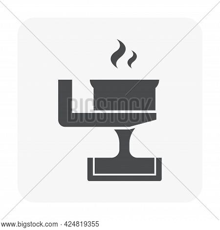 Casting Process In Metallurgy Or Metallurgical Production Industry Vector Icon. That Manufacturing P