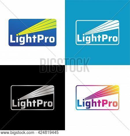 Set Of Lightpro Logo Design Template For Lighting Professional Company, Laser Art, Multimedia Event