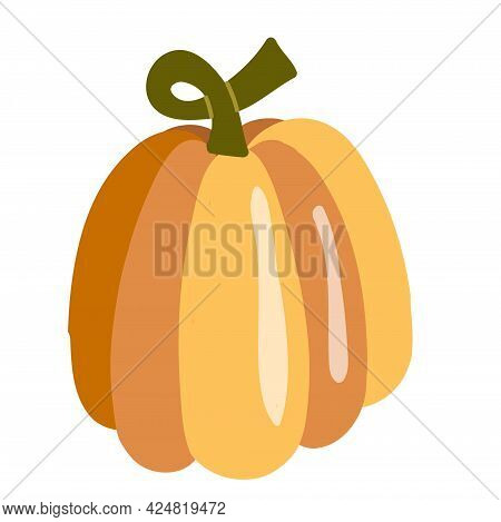 Pumpkin Isolated On White Background. Vector Illustration