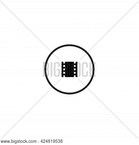 Movie Filmstrip Button Icon Vector Isolated On White Background