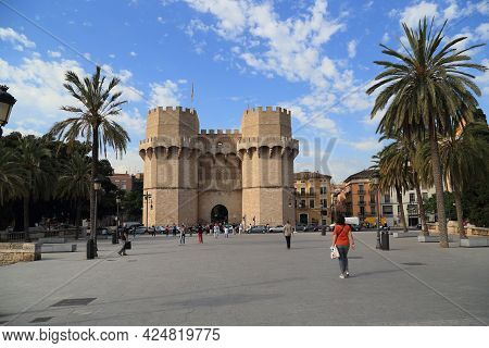 Valencia, Spain - May 18, 2017: The Seranos Towers Are The Preserved Former Gates Of The Medieval Ci