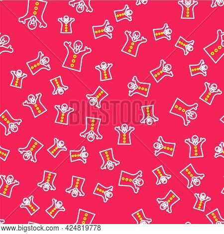 Line Toy Puppet Doll On Hand Icon Isolated Seamless Pattern On Red Background. Vector