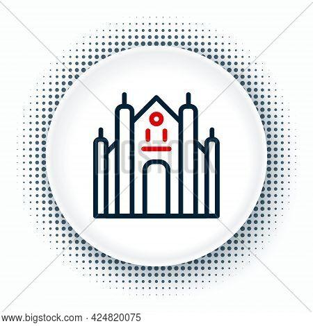 Line Milan Cathedral Or Duomo Di Milano Icon Isolated On White Background. Famous Landmark Of Milan,