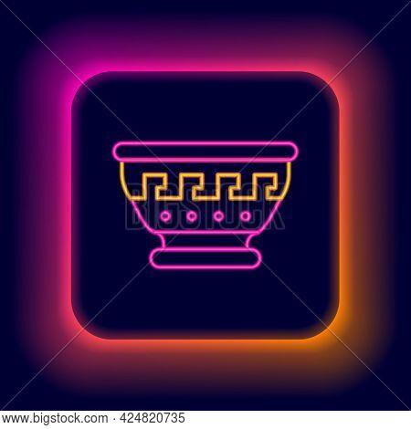Glowing Neon Line Greek Ancient Bowl Icon Isolated On Black Background. Antique Amphora With Pattern