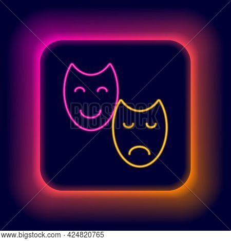 Glowing Neon Line Comedy And Tragedy Theatrical Masks Icon Isolated On Black Background. Colorful Ou