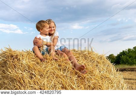 Pair Of Two Cute Adorable Little Caucasian Sibling Kids Enjoy Sitting On Haystack Bale And Hug Toget
