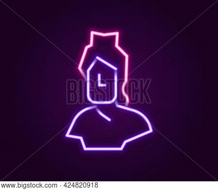 Glowing Neon Line Ancient Bust Sculpture Icon Isolated On Black Background. Colorful Outline Concept