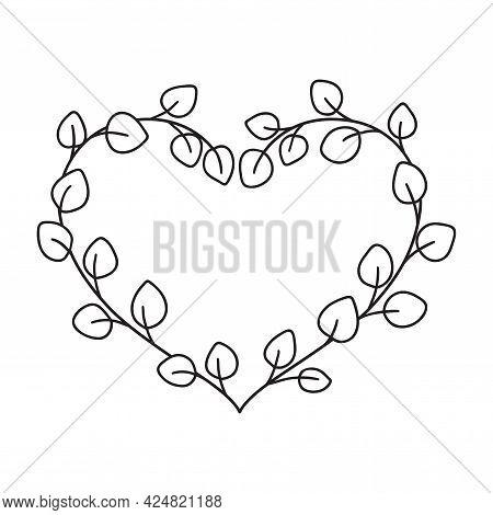 Hand Drawn Rustic Eucalyptus Frame. Floral Heart Wreath.