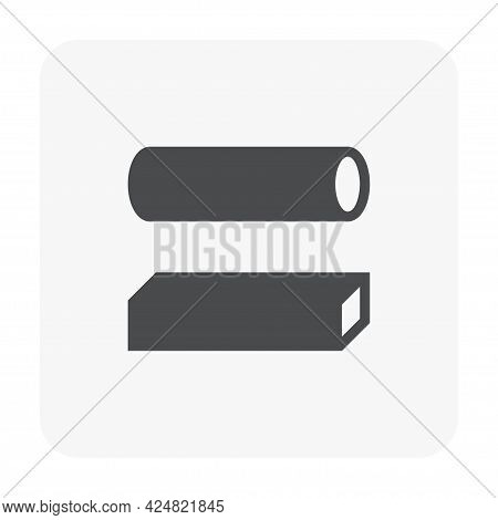 Hollow Structural Steel Or Iron Pipe Product Vector Icon. Round And Square Section Profile Shape. Al