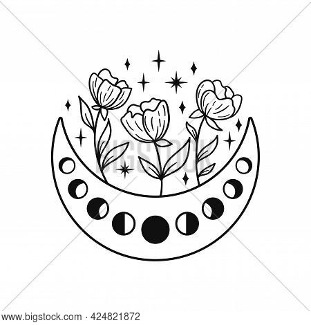 Hand Drawn Crescent Moon With Peonies And Floal Elements. Lunar Phases Spiritual Design. Celestial V