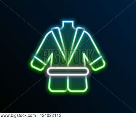 Glowing Neon Line Bathrobe Icon Isolated On Black Background. Colorful Outline Concept. Vector