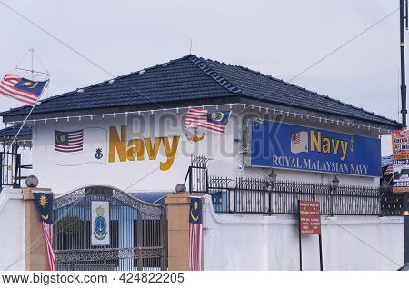 Penang, Malaysia.  August 20, 2017. The Royal Malaysian Navy Building In George Town Penang Malaysia