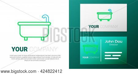 Line Bathtub Icon Isolated On White Background. Colorful Outline Concept. Vector