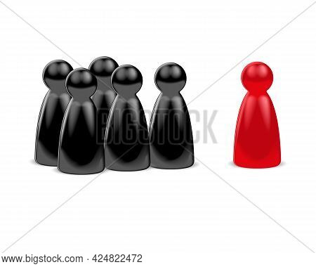 Red Game Figure In Front Of A Group Of Black Figures. 3d Rendering