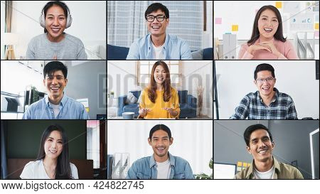 Group Of Young Asian Business People, Office Coworker On Video Online Conference Call, Remote Team M