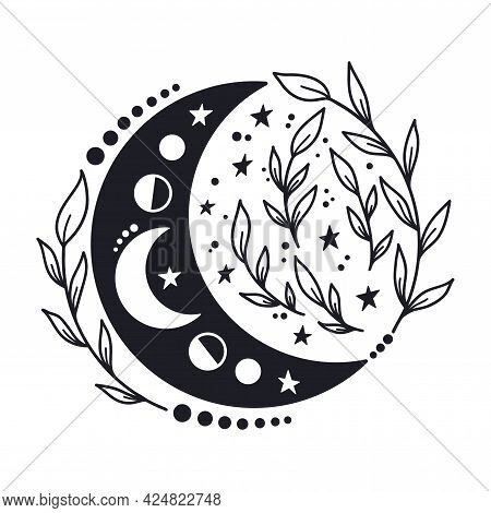 Hand Drawn Crescent Moon With Floal Elements. Lunar Phases Spiritual Design. Celestial Vector Illust