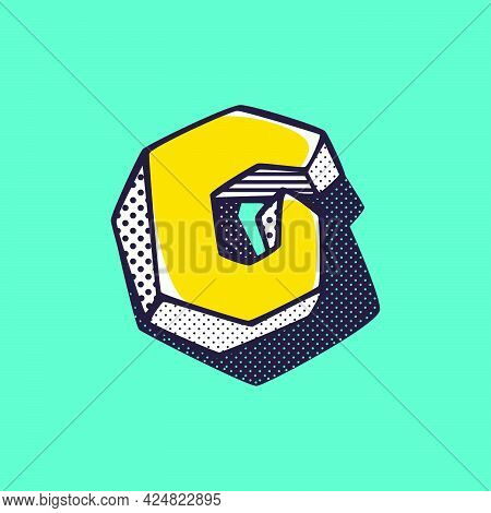 Retro 3dletter G Logo With Polka Dot And Striped Pattern On The Sides. Vector Isometric Font For Ki