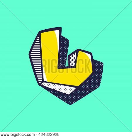 Retro 3dletter L Logo With Polka Dot And Striped Pattern On The Sides. Vector Isometric Font For Ki
