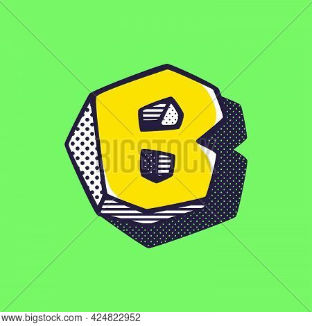 Retro 3dletter B Logo With Polka Dot And Striped Pattern On The Sides. Vector Isometric Font For Ki