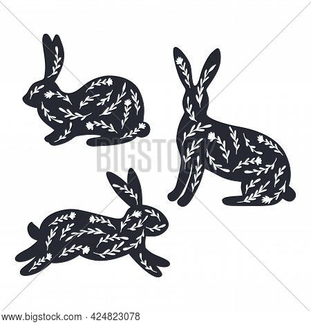 Floral Bunny Silhouette Bundle. Meadow Rabbits Set. Vector Illustration Isolated On White Background