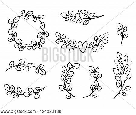 Eucalyptus Wreathes And Borders Bundle. Floral Frames Hand Drawn Elements. Wedding Logo Design. Vect