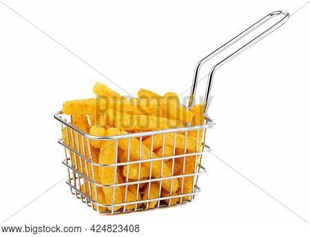 Spicy potato French fries in a metal frying basket on a white background