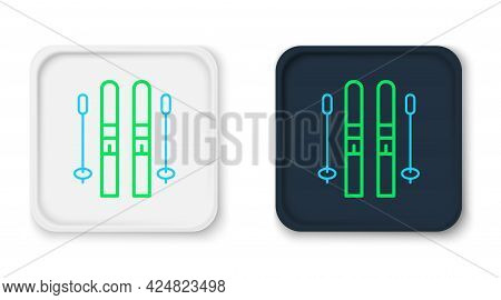 Line Ski And Sticks Icon Isolated On White Background. Extreme Sport. Skiing Equipment. Winter Sport