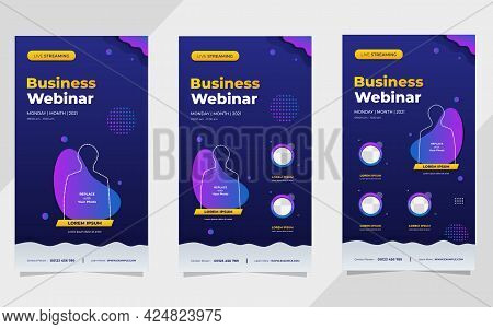 Collection Of Social Media Stories Post Templates. Vector Graphics Of Dark Blue And Purple Backgroun