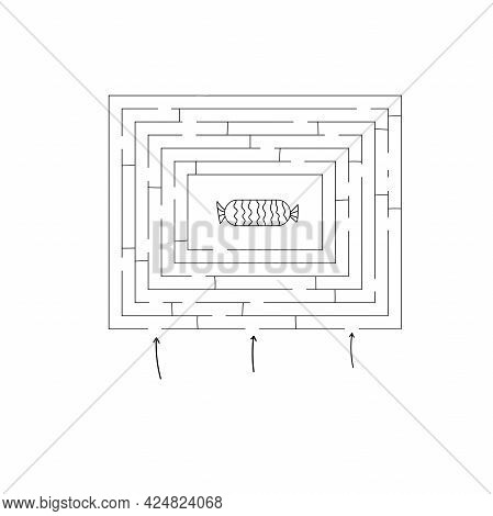 Abstract Mazes Labyrinths With Entry And Exit. Labyrinths.
