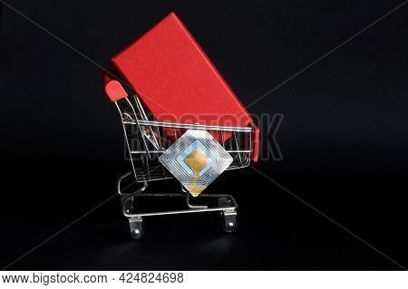 Supermarket Trolley With Red Box And Rfid Tag Transponder. The Concept Of Using Rfid Technology In T