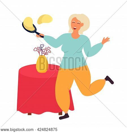 Old People Grandma Bakes Pancakes. Pensioners Are Athletic. Vector Illustration Isolated On A White
