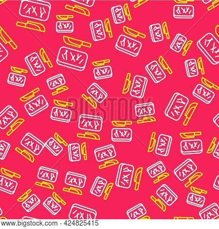 Line Cutting Board And Knife Icon Isolated Seamless Pattern On Red Background. Chopping Board Symbol