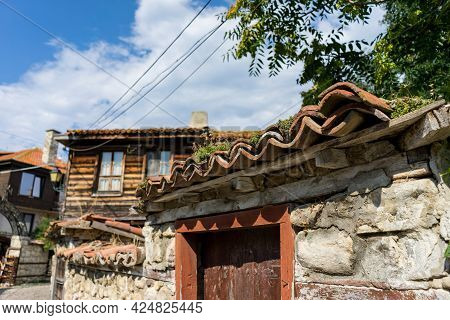 Old Tile Roof In The Old Town Of Bulgaria. An Old Building In The Town Of Nessebar. Selective Focus