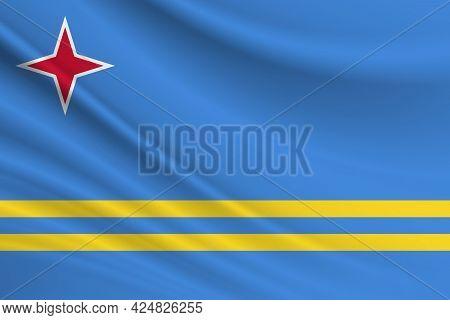 Flag Of Aruba. Fabric Texture Of The Flag Of Aruba.