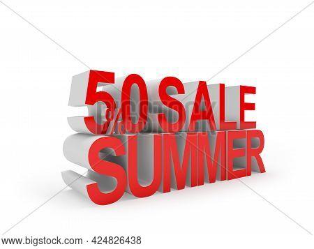 Fifty Percent Discount Summer Sale Text. 3d Illustration