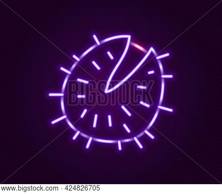 Glowing Neon Line Chestnut Icon Isolated On Black Background. Barbed And Strong Chestnut. Colorful O