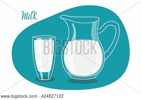 Milk In Pitcher And Glass. Kitchen Utensils. Vector Illustration Of Transparent Jug Pitcher And Glas