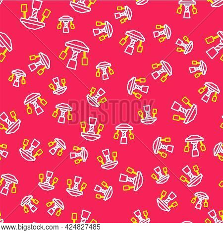 Line Attraction Carousel Icon Isolated Seamless Pattern On Red Background. Amusement Park. Childrens