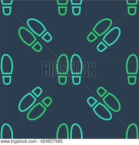 Line Footsteps Icon Isolated Seamless Pattern On Blue Background. Detective Is Investigating. To Fol