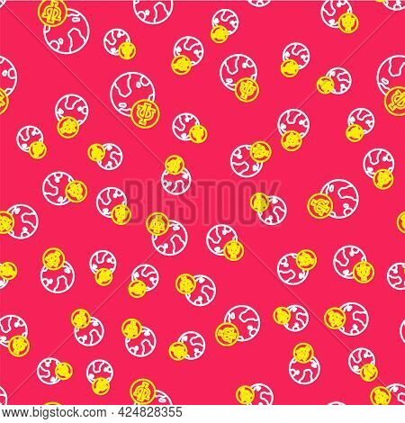 Line Psychology Icon Isolated Seamless Pattern On Red Background. Psi Symbol. Mental Health Concept,