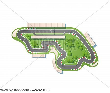 The Race Circuit From A Top View Is Isolated On A White Background. The Racing Track Is Including A