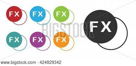 Black Photo Camera Fx Icon Isolated On White Background. Foto Camera. Digital Photography. Set Icons