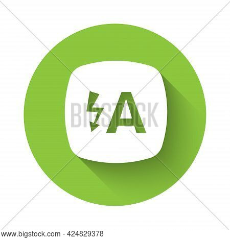 White Auto Flash Icon Isolated With Long Shadow. Automatic Flash. Green Circle Button. Vector